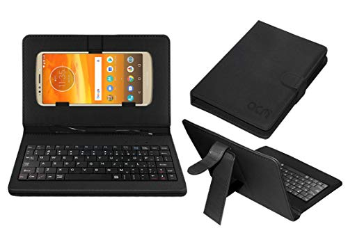 Acm Keyboard Case Compatible with Motorola Moto E5 Plus Mobile Flip Cover Stand Plug & Play Device for Study & Gaming Black