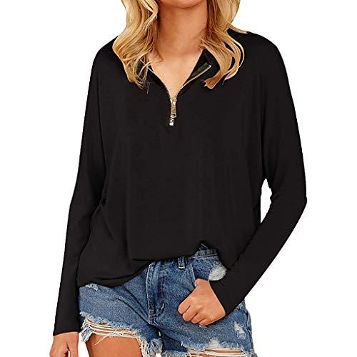 Ucoolcc Sweat Noir Femme Zippé Sweatshirt Casual Pull Manches Longues Slim T Shirt Elégante Couleur Unie Hiver Chaud Oversize Sweater Sweatshirt Tops