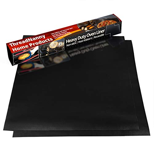 """2 Pack Large Thick Heavy Duty Non Stick Teflon Oven Liners Mat, 17""""x 25"""" BPA and PFOA Free, for bottom of Electric Oven Gas Oven Microwave Charcoal or Gas Grills"""