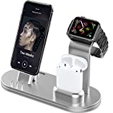 OLEBR Charging Stand 3 in 1 Compatible with AirPods, iWatch Series 6/SE/5/4/3/2/1,Phone 12/12 Pro/ 12 Pro Max/11/11 Pro/11 Pro Max/Xs/X Max/XR/X/8/8Plus/7/7 Plus /6S /6S Plus-Silver