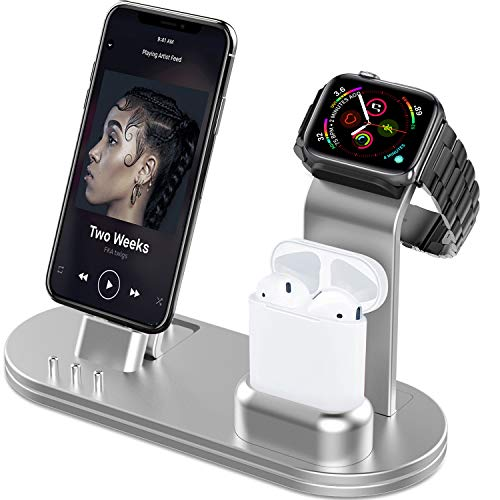 OLEBR Charging Stand 3 in 1 Compatible with AirPods, iWatch Series 6/SE/5/4/3/2/1,Phone 12/12 Pro/ 12 Pro Max/11/11 Pro/11 Pro Max/Xs/X Max/XR/X/8/8Plus/7/7 Plus /6S /6S Plus-Rose Gold