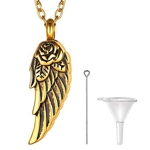 FaithHeart Cadena Eslabones Redondos para Cuello Acero Inoxidable Oro Amarillo 18K Alitas Angeles Demonios Collar Cremación