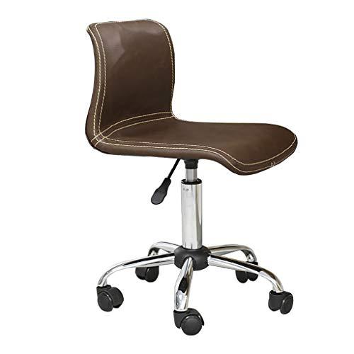 Bureaustoel bruin vintage design lift draaistoel met rugleuning, armless draaibaar, bureaustoel