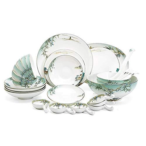 Mzxun Cerámicas de vajilla de 32 piezas, Tazón/Plato/Cuchara | Bone China Las vajillas, West Lake fiesta del patrón de porcelana conjunto combinación de