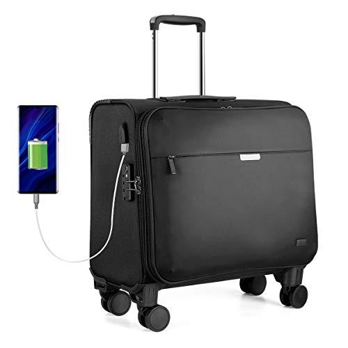 Hanke Business Trolley Koffer 18 Zoll 36L Laptop Trolley mit Austauschbare Rollen, TSA-Zollschloss, USB-Ladeanschluss, Laptopfach für bis zu 15,6 Zoll für Dienstreise Büro Geschenk Herrn Frau Schwarz
