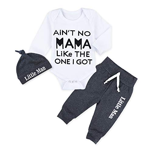 Newborn Baby Boy Clothes Ain't No Mama Like The One I Got Letter Printed Long-Sleeve Bodysuit + Little Man Legging Pants + Hat 3Pcs Outfits Set 3-6 Months