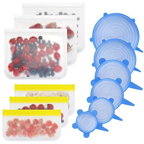 Dehnbare Silikondeckel, 12er Silikon Stretch Deckel und Lebensmittel Beutel zur Aufbewahrung von Lebensmitteln und Stretchdeckel für Schüsseln, Töpfe, Gläser, Dosen, Becher