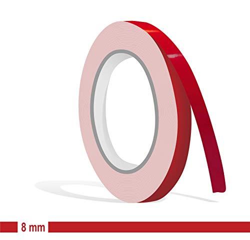 Siviwonder Zierstreifen rot Karmin Glanz in 8mm Breite und 10 m Länge Aufkleber Folie für Auto Boot Jetski Modellbau Klebeband Dekorstreifen - Karminrot
