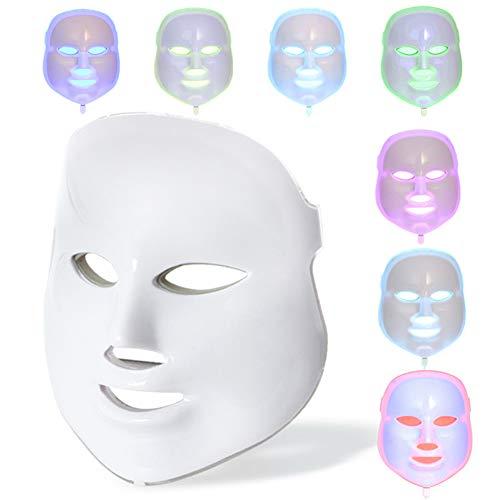 YGTFMASK Máscara Facial Terapia LED, Acné Anti Fotón Portátil Antiarrugas Mascarilla Limpiadora Blanqueadora,Máscara Tratamiento Belleza 7 Colores,para Facial Cuidado Piel Máscara Instrumentos,