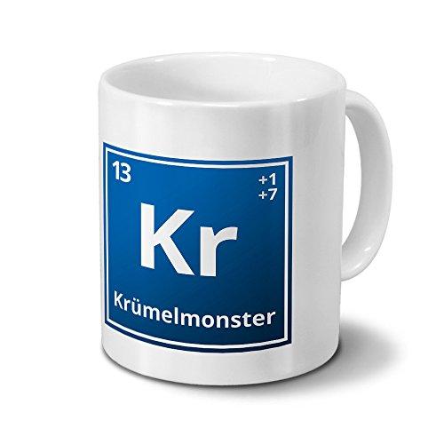 Tasse mit Namen Krümelmonster als Element-Symbol des Perioden Systems - blau - Namenstasse, Kaffeebecher, Mug, Becher, Kaffeetasse