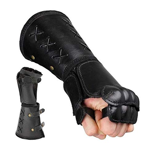 Archery Arm Guards Leather Bracer Long Gloves Fingerless Mitten Elbow Cuff Medieval Armor Gauntlet Archer Costume Cosplay for Men(1 Pair),Black