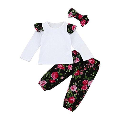 URSING 3 Stück Weich Kleinkind Säugling Baby Mädchen Beiläufig Blumen Drucken Kleider Set Lange Ärmel Tops + Hose + Stirnband Outfits 6-24 Monat (Blumen, 6M)