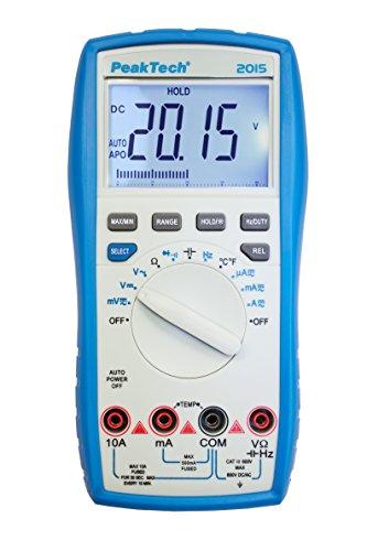 PeakTech 2015 - Multímetro Digital, Probador de Continuidad, Rango Automático, 4000 Cuentas, Dispositivo de Medición, Multímetro de Mano, Voltímetro, Medición de Corriente Pantalla LCD - Cat III 600 V