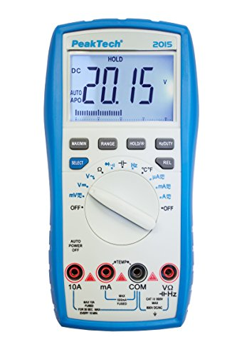 PeakTech 2015 – Digitales Multimeter, Durchgangsprüfer, Autorange, 4000 Counts, Messgerät, Spannungsmesser, Handmultimeter, Voltmeter, Elektronisches Strommessgerät, LCD-Anzeige - CAT III 600 V
