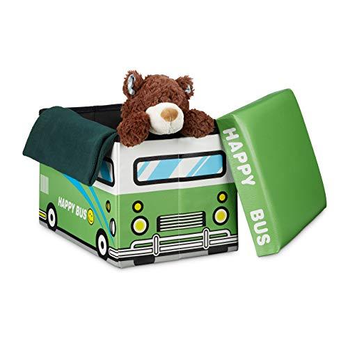 Relaxdays Faltbare Spielzeugkiste Happy Bus HBT 32 x 48 x 32 cm stabiler Kinder Sitzhocker als praktische Spielzeugbox Kunstleder mit Stauraum ca. 37 l und Deckel zum Abnehmen für Kinderzimmer, grün