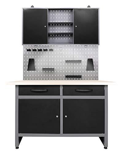 Ondis24 Werkstatteinrichtung Set LED Beleuchtung aus 1x Werkbank, Werkzeugschrank TÜV geprüft, Euro Lochwand 22 Haken