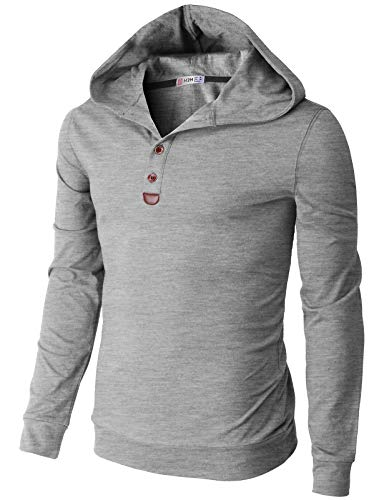 H2H Men's Casual Slim Fit Pullover Hoodies Henley Shirts Long Sleeve Gray US L/Asia XL (CMOHOL075)