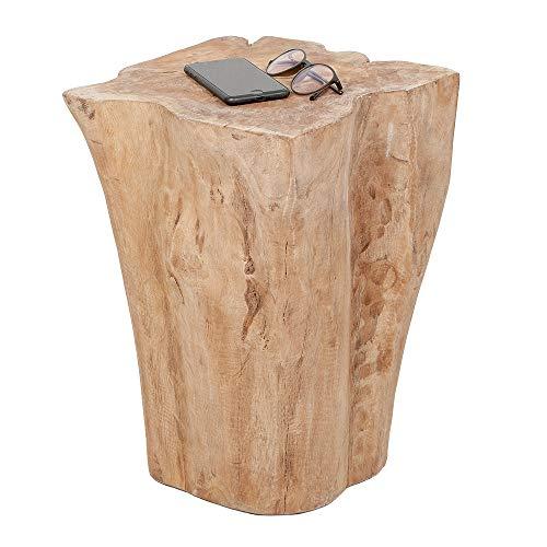 LEBENSwohnART Beistelltisch Hocker Heavy Stool Teak Handmade Naturform massiv eckig
