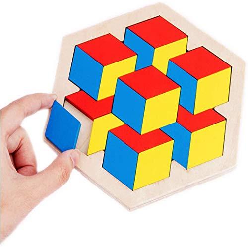 Afufu Holzpuzzle ab 3 4 5 6 Jahre, Tangram Puzzle, Geometrie Logik Knobelspiel, Legespiel mit Form Block, Montessori Spielzeug, Pädagogisches Geschenk für Baby/Kleinkinder/Kinder