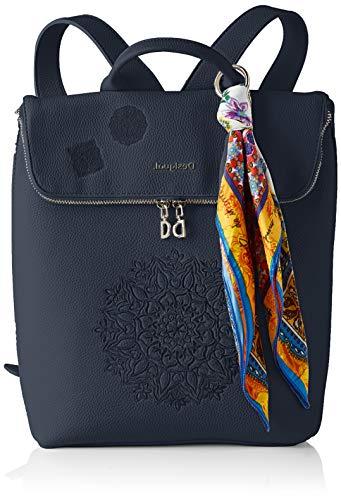 Desigual PU Backpack Medium, Zaino Medio Donna, Blu
