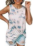 Camisetas de verano para mujer, sin mangas, con corbata Blanco S