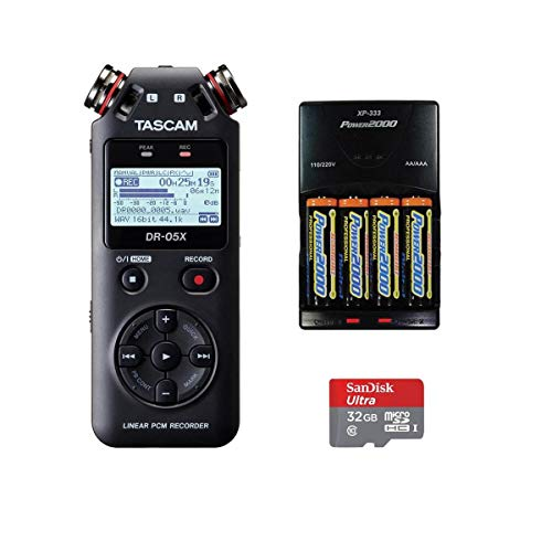 Tascam DR-05X Stereo Handheld Digital-Audio Recorder, Bundle with Rapid Battery Charger, and 32GB Memory Card