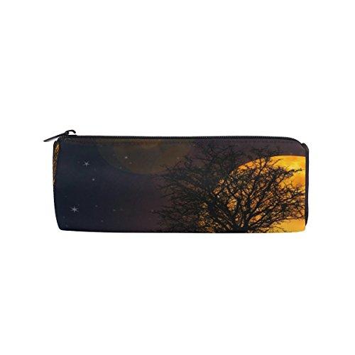 Isaoa Trousse ronde Licorne sous Lune Portable Pen Sac pochette de rangement Sac à main porte-stylo Convient pour étudiant ou travail de bureau de voyage maquillage Sac