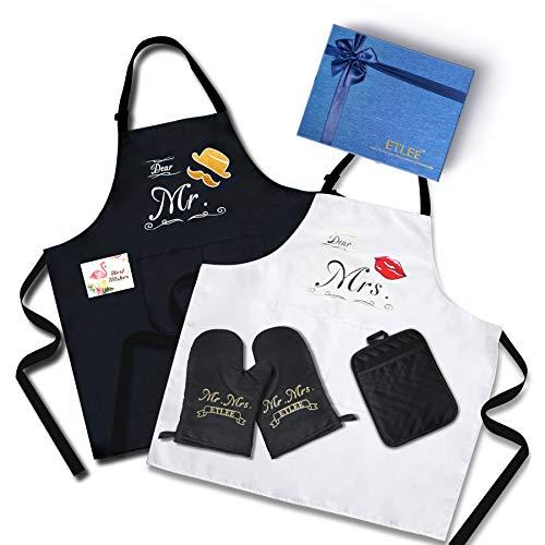 ETLEE Mr. & Mrs.Ensemble de tablier (6PCS), anniversaire, cadeau de mariée, mariage et nouveau cadeau de maison, tablier de cuisine imperméable réglable, gants de cuisine, manique et carte de voeux.