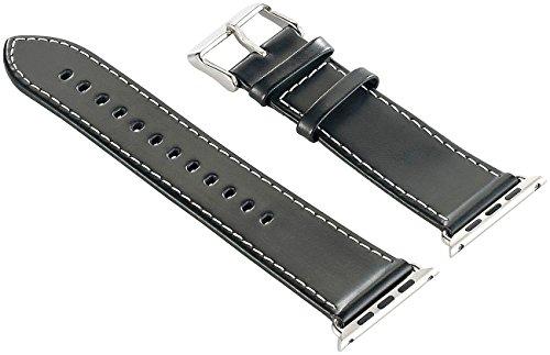 Callstel Uhrenarmbänder: Glattleder-Armband passend für Apple Watch 38 mm, schwarz (Milanaise Armband)