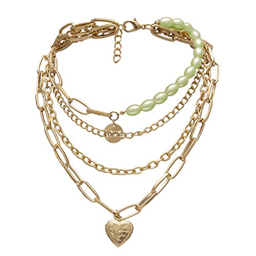 jieGorge Accessory, Vintage Metal Gold Multi-layer Lock Love Necklace Ladies Jewelry Gift, Clothing Shoes & Accessories (Green Free Size)
