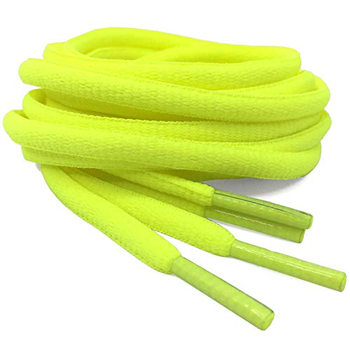 DELELE 2 Pair Oval Shoes Laces Half Round 1/4'Athletic Shoelaces Shoe Strings Fluorescent Yellow -43'