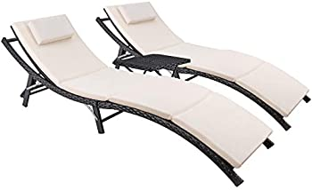 3-Piece Devoko Patio Chaise Adjustable Lounge Set with Folding Table