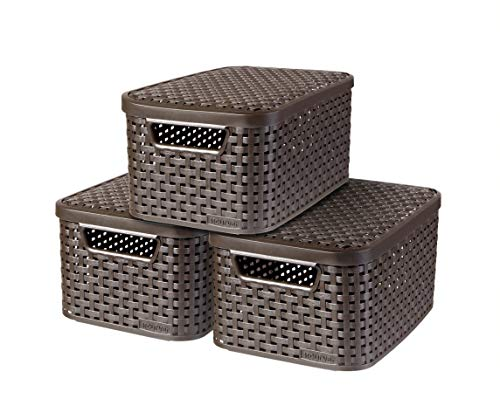 Curver 240646 - Set de 3 cestas Style con tapa, tamaño S, 7 L, color marrón