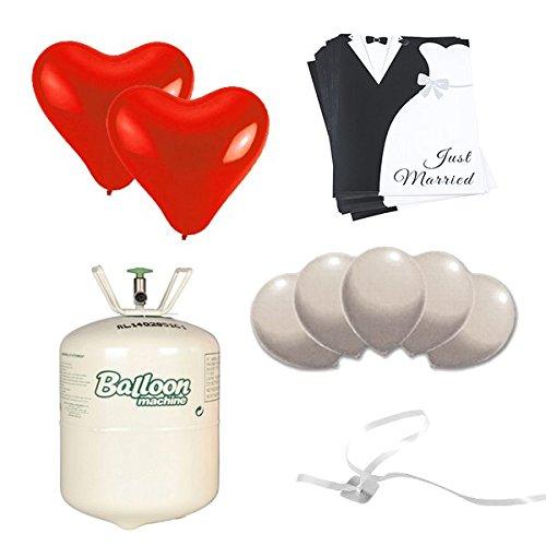 Ballonstart Set Brautpaar-Deluxe Hochzeit: Komplett Paket mit 25 Luftballons, 25 leichten Ballonkarten, Helium und Bändern und Verschlüssen, 76-tlg