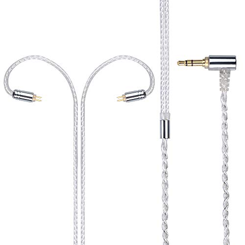 Kmrlim- FDBRO-L Header 4 core 1.6 Transparent Flashing Silver Plated Earphone Upgrade Cable, Braided Replacement Earphone cable-2PIN, MMCX, QDC (2PIN, Silver+3.5mm)