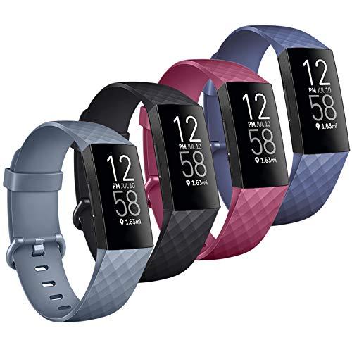 Wanme Pack 4 für Fitbit Charge 4 Armband Fitbit Charge 3 Armband, Verstellbarer Ersatzarmband Kompatibel mit Fitbit Charge 4 und Fitbit Charge 3 (01 Schwarz/Marineblau/Blaugrau/Weinrot, Large)