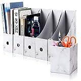 Caja de Almacenamiento de la Oficina Revistero Archivador File Magazine Holder Cardboard Magazine Book Rack Lever Arch Archivador Divider Document Stationery Storage Box 5Pcs / Pack (Color mármol)