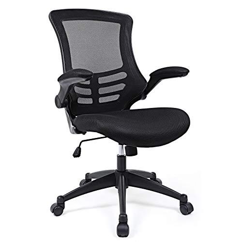 SONGMICS Bürostuhl, ergonomischer Drehstuhl mit klappbare Armlehnen, Höhenverstellung und Wippfunktion, Schreibtischstuhl für Soho- oder Büroarbeit, Schwarz, OBN81B
