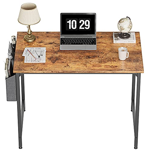 CubiCubi Study Computer Desk 32' Home Office Writing Small Desk, Modern Simple Style PC Table, Black Metal Frame, Rustic Brown