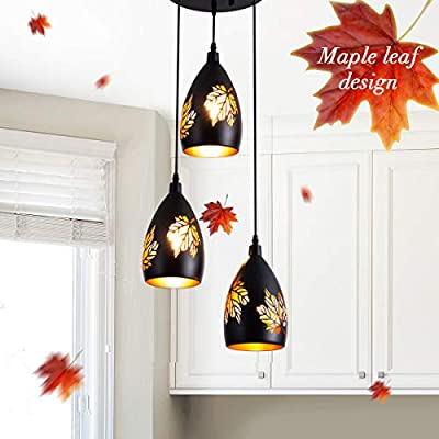 3 Light Pendant Vintage Adjustable Kitchen Lighting Fixture with Maple Leaves Pattern Carving Lampshade Black Hanging Lamp Industrial Pendant Lighting for Dining Room, Foyer, Loft, Hallway, Restaurant