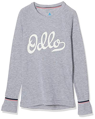 Odlo Kinder BL TOP Crew Neck l/s Active WARM Originals Unterhemd, Grey Melange-Placed Print FW19, 104