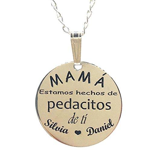 MASBARATA.ES Gargantilla Personalizada para Mama DE Plata DE Ley - 925/1000