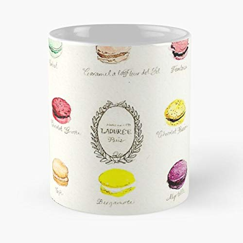 Macaroons Macaron Laduree Galletas Francesas Dulces Menú Postre Comer Comida Bite John Best Taza de café de cerámica de 11 oz