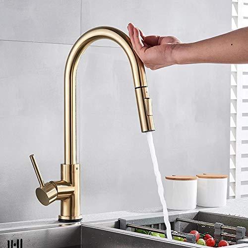 Grifos de cocina con sensor de oro y bronce, grifo de control táctil inteligente sensible, grifo mezclador, sensor táctil, grifos de cocina inteligentes, dorado