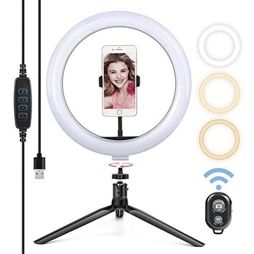 Yoozon Luce LED ad Anello con Treppiedi,Ring Light con Telecomando Bluetooth per Smartphone,Foto,Youtube,Trucco,Lampada Anulare Regolabile con 3 Modalita` di Illuminazione e 10 Livelli di Luminosità