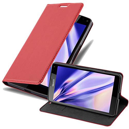 Cadorabo Hülle für Nokia Lumia 950 XL in Apfel ROT - Handyhülle mit Magnetverschluss, Standfunktion & Kartenfach - Hülle Cover Schutzhülle Etui Tasche Book Klapp Style