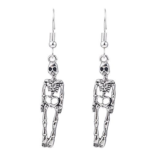 AHURGND Pendientes de los Huesos de Esqueleto Humano, aretes de Skeleton de Halloween, joyería gótica, Pendientes de cráneo de Estilo Punk Retro Personalizado, Encanto de cráneo Pendientes Colgantes