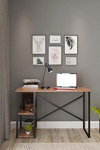 Derin Mesa de oficina | marrón | negro | industrial | madera | metal | mesa de escritorio | mesa con 2 estantes | estantería | mesa de ordenador | mesa de trabajo | escritorio | 60 x 120 x 72 cm