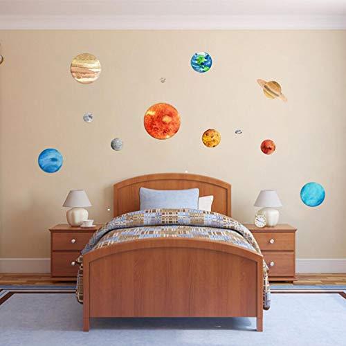 Autocollant Lumineux Lune des Neuf planètes Chambre Salon Jardin d'enfants Chambre de bébé Décoration de la Chambre des Enfants Sticker Mural Lumineux, 1
