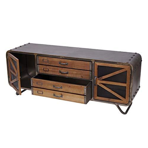 Mendler TV-Rack HWC-F91, Fernsehtisch Lowboard Kommode, Industrial Tanne Holz Metall 55x139x41cm, braun-schwarz
